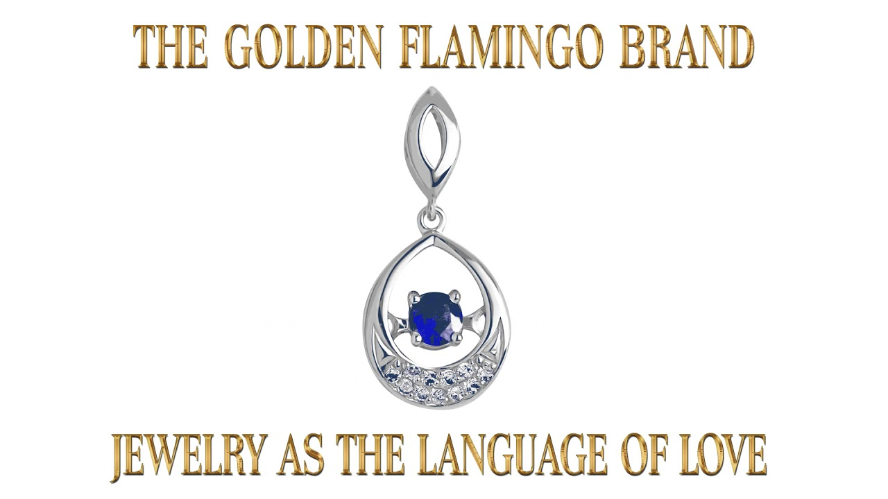 Pendant with Fluttering Sapphire and Diamonds. 585 (14kt) White Gold. Video Thumbnail