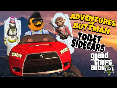 Adventures Of Buttman #13: Toilet Sidecars! (Annoying Orange GTA V)