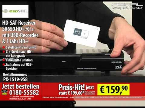 esoSAT HD-SAT-Receiver SR650 HD+/CI+ mit USB-Recorder & 1 Jahr HD+