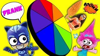 Spin The Wheel Game Featuring Poppy, Catboy, and Moana! Fun with Slime and Hatchimals!