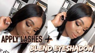 HOW TO BLEND YOUR EYESHADOW + APPLY FALSE LASHES | Cynthia Gwebu