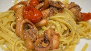 Linguine in Umido di Moscardini - Linguine with Curled Octopus by Bravobob