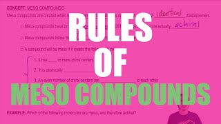 The 3 rules of meso compounds