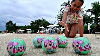 Giant LOL Surprise Baby Dolls On The Beach - Kids Toys Opening   Toys AndMe