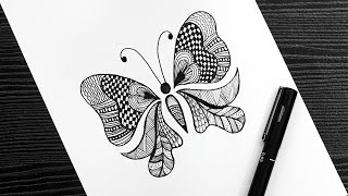 Butterfly Doodle Art || How To Draw Butterfly || Butterfly Drawing || Doodle Art #WithMe