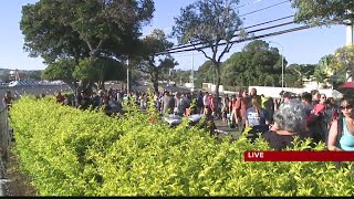 Bruno Mars line outside of Aloha Stadium ahead of gates opening for fans