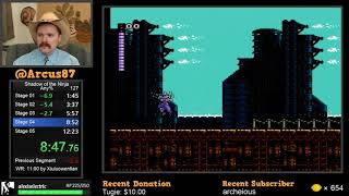 Shadow of the Ninja NES speedrun in 12:18 by Arcus