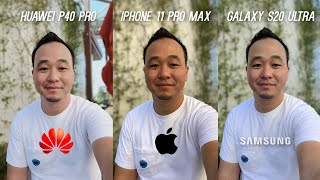 Huawei P40 Pro vs Apple iPhone 11 Pro vs Samsung Galaxy S20 Ultra Camera Test Comparison!