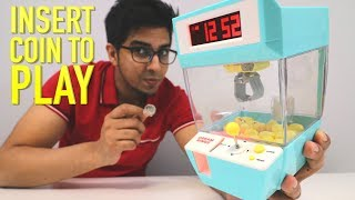 UNBOXING & LETS PLAY! - MINI CLAW MACHINE - Tiny Arcade Grab Game! - FULL REVIEW!