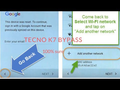 TECNO K7 quick short and easy way to bypass google account