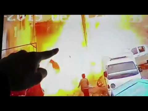 Surveillance footage shows the moment of an explosion in Syria, on Wednesday, in the US-patrolled town of Manbij. (Jan. 16)