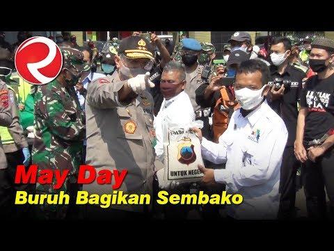 May Day, Buruh Jateng Bagikan Sembako dan Masker