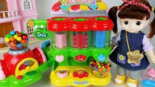 Candy dispenser machine and Baby doll shop toys play 아기인형 콩순이 캔디 가게 장난감 놀이 - 토이몽