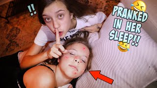 PIMPLE PRANK ON MY SISTER WHILE SHE IS SLEEPING!!