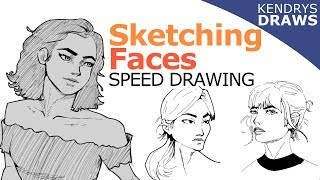 Sketching faces- Speeddrawing- clip studio paint
