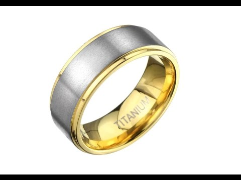 Jewellery - Titanium ring in gold color with matt silvery stripe