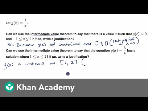 Justification With The Intermediate Value Theorem Equation Video