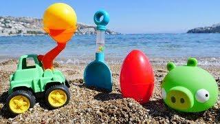 Энгри Бердс закапывает яйцо в песке. Видео для малышей.