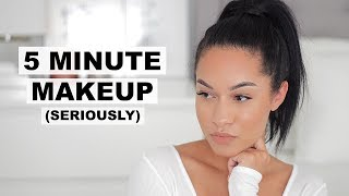 QUICK & EASY 5 MINUTE MAKEUP! LESS THAN 5 PRODUCTS (Real Time) - Video Youtube