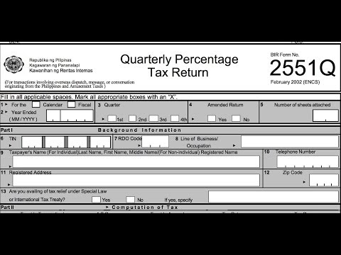BIR Form 2551Q (ETM) Filling Up Correctly