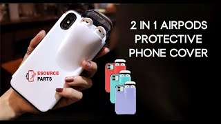 iPhone 2 in 1 Airpod Phone Multi Functional Protective Case - Storage for y