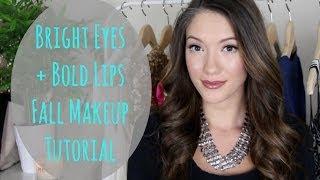 Bright Eyes + Bold Lips Fall Makeup Tutorial