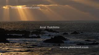 冬の越前海岸の夕景