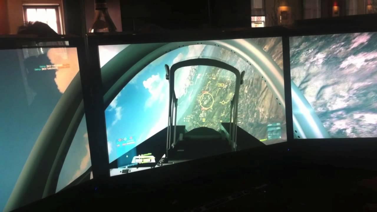 Battlefield 3's Vehicles Seen On A Triple-Screen Display