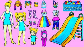 Paper Dolls Dress Up - Costumes Unicorn Dresses Handmade Quiet Book  - Barbie Story & Crafts