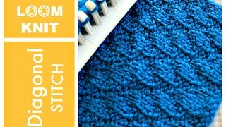 LOOM KNITTING STITCHES Diagonal Stitch Pattern | Loomahat