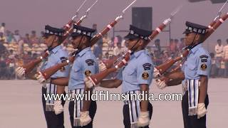 Indian Air Force cadets and airmen with their rifles: IAF Day 2017