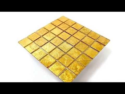 Bad Bordüre Glasmosaik Effekt Fliese Gold 48x48x4mm