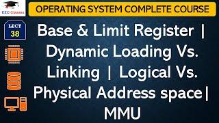 Base & Limit Register   Dynamic Loading Vs. Linking   Logical Vs. Physical Address space  MMU