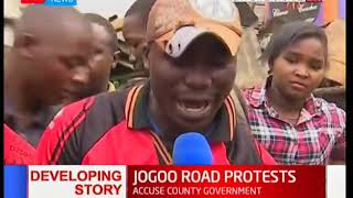 Traders protest the demolishing of their stalls at City Stadium along Jogoo Road