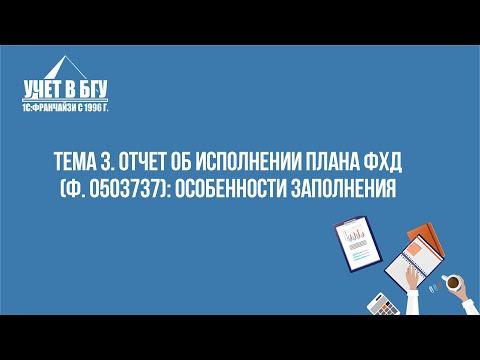 Тема 3: Отчет об исполнении плана ФХД (ф. 0503737): особенности заполнения