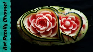 Fruit Carving | Art Of Carving Fruit Watermelon Design | Watermelon Carved Art Design Love Carving