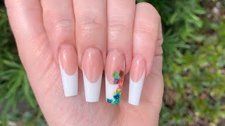 Step By Step: How To Deep French Pink White Acrylic Nails