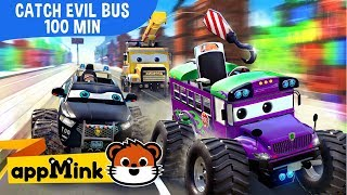 appMink car animation – Fun Cartoon with Police Car, Fire Truck and Helicopter catching Evil Bus