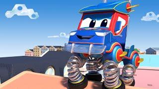 การ์ตูนรถบรรทุกสำหรับเด็ก รถดับเพลิงพลิกคว่ำอยู่กลางถนน! ซุปเปอร์ ทรัค ในคาร์ ซิตี้!