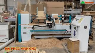 MÁY TIỆN GỖ CNC 2 Trục Nạp Phôi làm Việc đồng thời Woodmaster