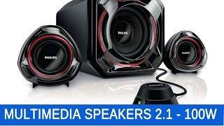 Enceintes 2 Satellites + Subwoofer PC Multimedias Speakers 2.1 100W  Philips SPA5300