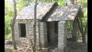 Building beautiful roman house | Primitive technology with manual construction skills