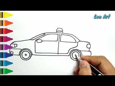 Cara Menggambar Dan Mewarnai Mobil Polisi Untuk Anak смотреть
