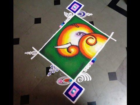 best ganesh chathurthi festival rangoli design by latest rangoli design