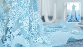Sky Blue Pearls Lace Illusion Prom Dress With Detachable Overskirt 1X053