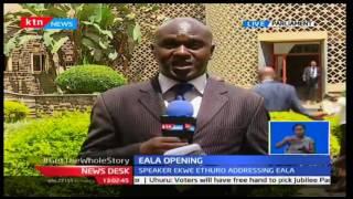 Senate Speaker Ekwe Ethuro reads President Uhuru's speech at EALA