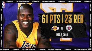Lakers @ Clippers: Shaq scores career-high 61 on his 28th birthday (March 6, 2000) #NBATogetherLive