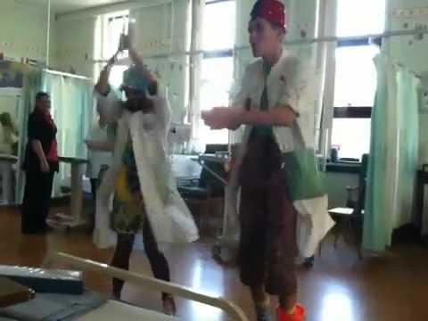 Harris Entertained by clowns bri hospital