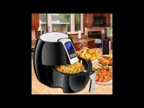 Super Deal 1500W Electric Air Fryer W/Temperature Control, Timer, 8 Cooking Presets 3.7-Qt