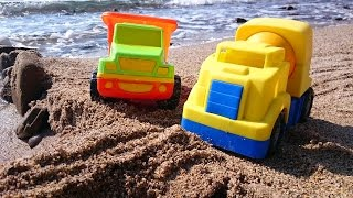 Мультфильм про рабочие машины, которые строят мост на пляже
